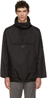 Prada Black Half-Zip Hooded Jacket