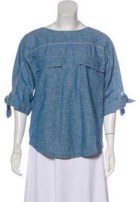 Chloé Button-Up Chambray Top