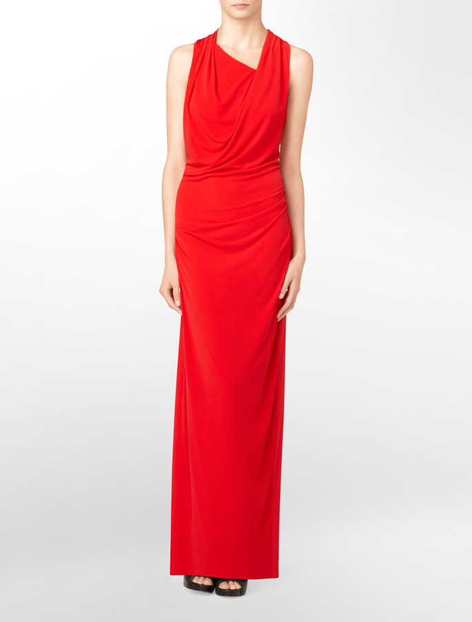 Cowlneck Ruched Gown