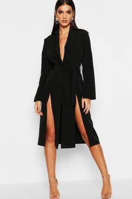 boohoo Longline Belted Blazer Dress
