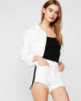 Express High Waisted Side Stripe Raw Hem Denim Shorts