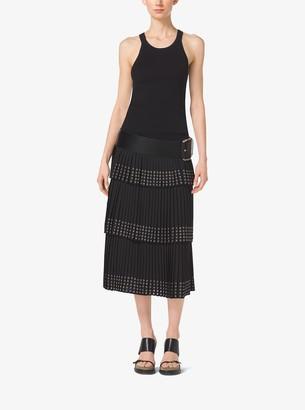 Michael Kors Grommet-Embroidered Pleated Silk-Georgette Skirt