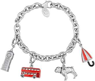 Laura Ashley Sterling Silver London Charm Bracelet Set