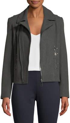 T Tahari Studded Knit Moto Jacket