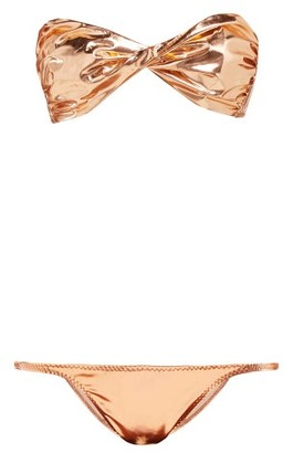 Lisa Marie Fernandez Alexia Metallic Pvc Bikini - Womens - Rose Gold