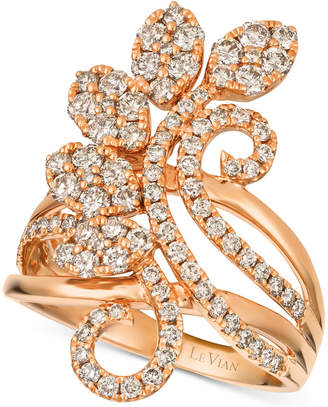 LeVian Le Vian Strawberry & NudeTM Diamond Flower Cluster Statement Ring (1-3/8 ct. t.w.) in 14k Rose Gold