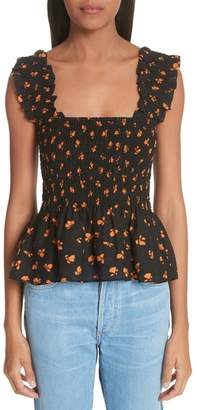 Ganni Beacon Floral Ruched Top