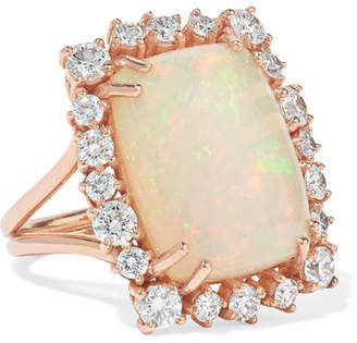 Suzanne Kalan 18-karat Rose Gold, Opal And Diamond Ring