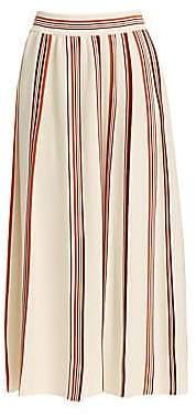 Loro Piana Women's Rigata Palm Beach Striped Midi Skirt