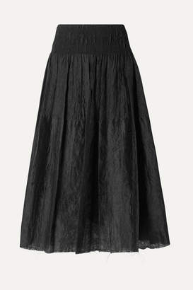 Marques Almeida Marques' Almeida - Waisted Smocked Brocade Midi Skirt - Black