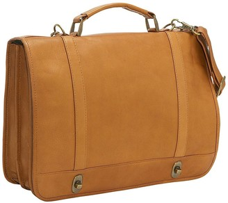 Le Donne Leather Flap-Over Twist-Lock Briefcase