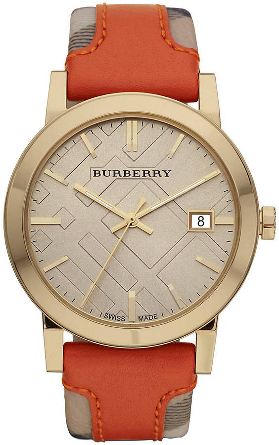 Burberry Men's Watch with Haymarket Check & Orange Leather Strap