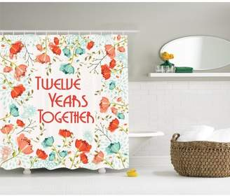 Ambesonne 12th Anniversary Year Gifts for Wives Flowers Decor Shower Curtain with Hooks