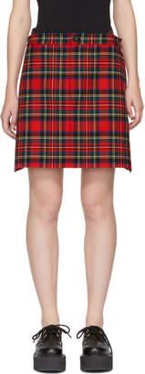 Junya Watanabe Red Tartan Check Wide Miniskirt