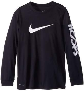 Nike Dry Hoops Basketball Long Sleeve Tee Boy's T Shirt
