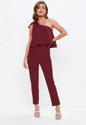 Missguided Wine One Shoulder Bow Romper
