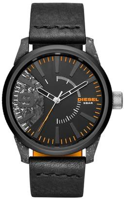 Diesel R) Rasp Leather Strap Watch, 46mm x 53mm