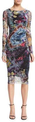 Fuzzi Floral-Print Long-Sleeve Side-Shirred Dress