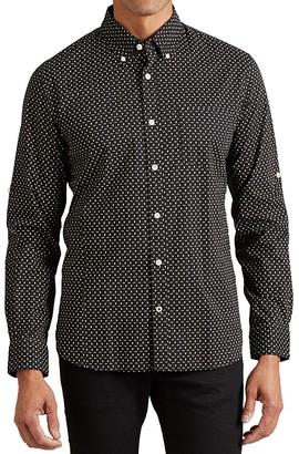 John Varvatos Star USA Skull Print Roll Sleeve Slim Fit Button-Down Shirt $148 thestylecure.com