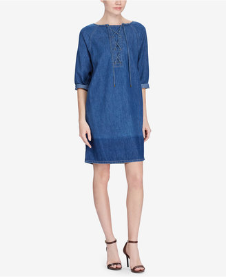 Lauren Ralph Lauren Lace-Up Denim Cotton Shift Dress $135 thestylecure.com