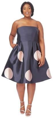 Debut Navy Spot Print Bandeau Knee Length Plus Size Prom Dress