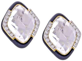 David Webb 18K Yellow Gold & Platinum with Diamond Earrings