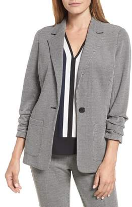 Vince Camuto Ruched Sleeve Mini Houndstooth Jacket (Regular & Petite)
