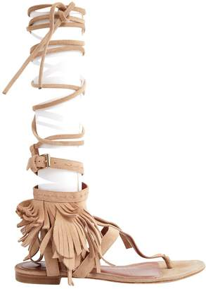 Alberta Ferretti Brown Suede Sandals