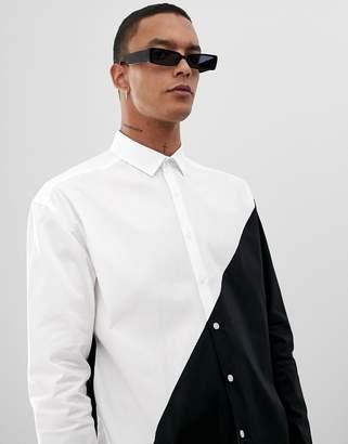 Asos Design DESIGN oversized monochrome cut & sew poplin shirt