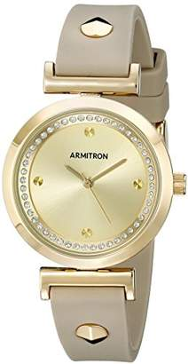 Swarovski Armitron Women's 75/5288CHGPTP Crystal Accented Gold-Tone and Taupe Silicone Strap Watch