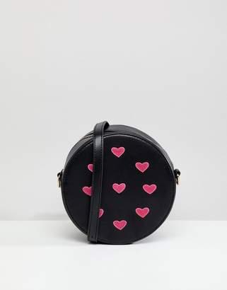 Liquorish Heart Embellished Round Crossbody Bag