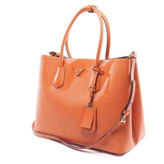 Prada Double Orange Leather Handbag