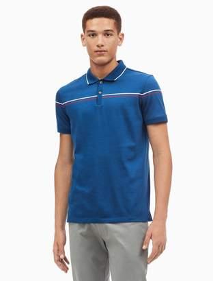 Calvin Klein slim fit liquid cotton engineered stripe polo shirt