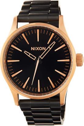 Nixon Sentry 38mm SS Bracelet Watch, Black/Rose
