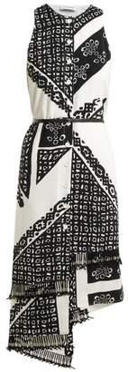 Altuzarra - Bandana Print V Neck Dress - Womens - Black White