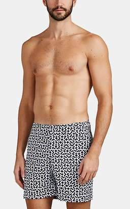 Orlebar Brown Men's Bulldog Geometric-Print Swim Trunks - Navy
