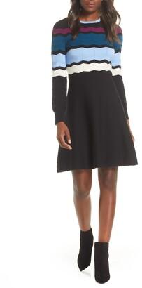 Vince Camuto Long Sleeve Stripe Sweater Dress