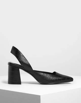 Charles & Keith Croc-Effect Square Toe Block Heels