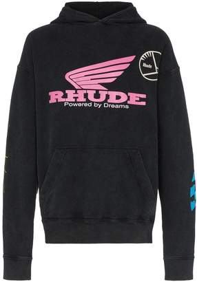 Rhude logo print cotton hoodie