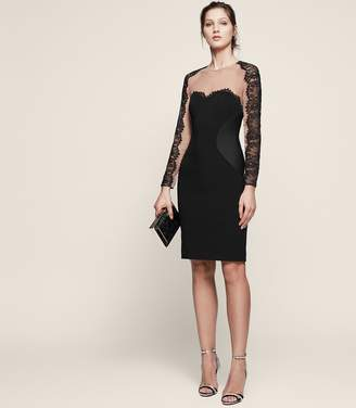 Reiss Joelie Lace Panel Bodycon Dress