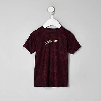 River Island Mini boys burgundy 'Mini rebel' T-shirt