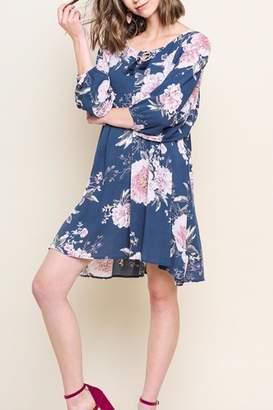 Umgee USA Floral Puff-Sleeve Dress