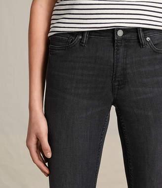 AllSaints Mast Skinny Low-Rise Jeans, Mid Grey