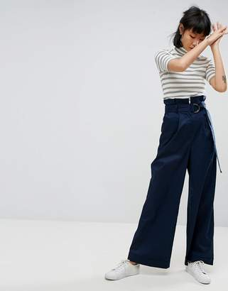 Asos Tailored Wide Leg Trousers With Paper Bag Waist And D Ring