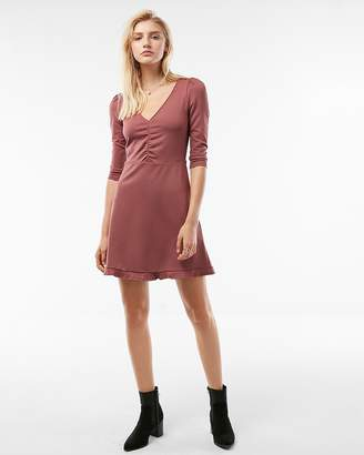 Express Petite Deep V-Neck Ruffle Hem Fit And Flare Dress
