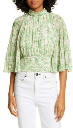 AMUR Lee Pleated Floral Print Open Back Top