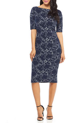 Maggy London 3/4-Sleeve Floral Sheath Dress