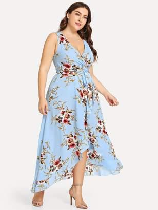 Shein Plus Flower Print Belted Wrap Dress