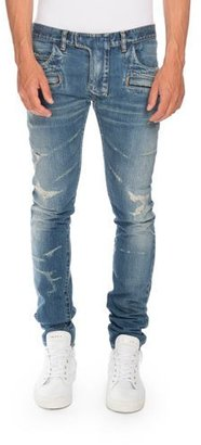 Balmain Distressed Skinny Denim Biker Jeans, Blue $1,930 thestylecure.com