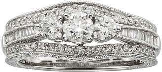 JCPenney MODERN BRIDE 1 CT. T.W. Certified Diamond 14K White Gold Vintage-Style 3-Stone Contour Bridal Ring